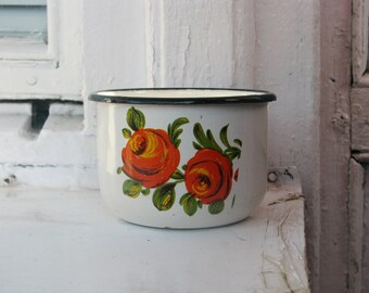 Soviet White Vintage enamel mug cup with  floral ornament - Home decor - Made in USSR