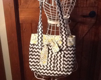 Brown Chevron Handbag on sale