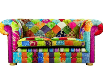 Bespoke Patchwork Chesterfield 2 Seater Sofa Designers Guild Fabric