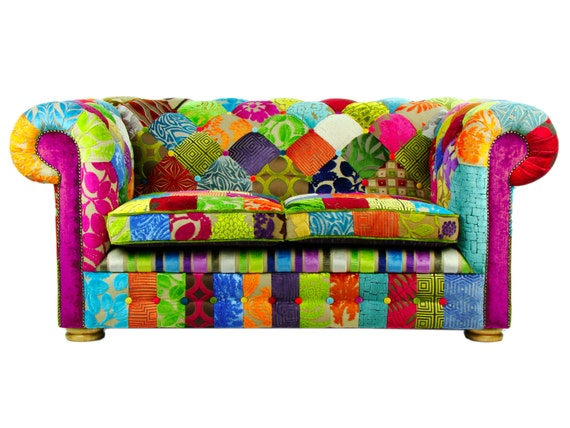 bespoke patchwork chesterfield 2 seater sofa designers guild. Black Bedroom Furniture Sets. Home Design Ideas