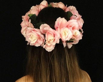 Large Pink Rose Crown