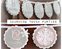 Winter ONEderland/Wonderland Birthday 1st Year Photo Memory Banner. Party Decor by Charming Touch Parties. Fully assembled, customizable.