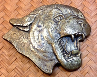 Wildcat brass belt buckle