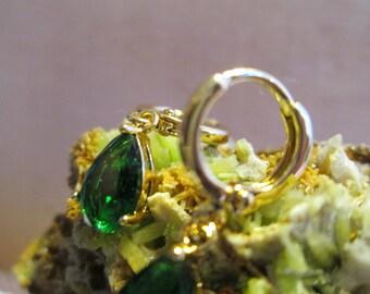 Deep Emerald Green Swarovski Crystal Dangle earring
