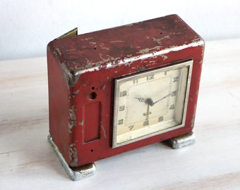 Vintage Rare Clock, Red Pre world War II Germany Alarm Clock, Big Metal Coin Case Working Manual Winding German Alarm Clock 30s