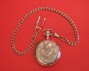 Grand Piano Design Pocket Watch Pewter Fronted With Albert Chain Piano Teacher Gift Musician Music Gift