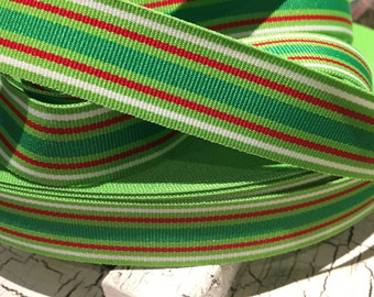 "3 yards 7/8"" Christmas Stripe Grosgrain Ribbon"