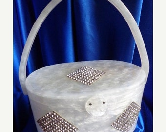 SALE Vintage Rare Wilardy White PearlizedThree Diamond Squares of Rhinestones Adorned this Lucite Purse - STUNNING B30