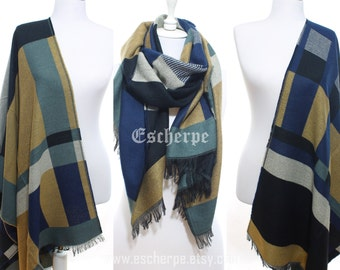 Blanket Scarf Geometric Scarf Cozy Warm Women Scarf Winter Accessories Women Fashion Accessories Scarves Valentine's Gift Ideas For Her Him