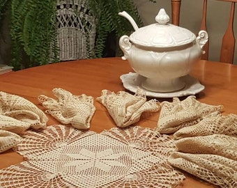 10 Antique Cream Crocheted Doilies, Crocheted Placemats, Wedding gift, Linens, Gift for her.