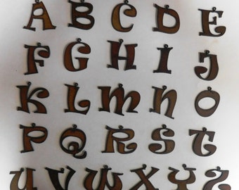 Rowdy (3) piece font letter charms made out of rusted metal any three (3)