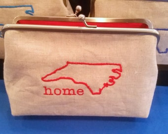 North Carolina Clutch, Home State Pride, Holiday Gift, Raleigh Wolfpack, Christmas Gift, Womens Purse, Red Purse, Blue Purse