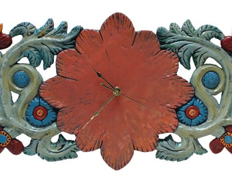Hand Made Wall Clock in Floral Relief 30 inches wide x 12 inches tall