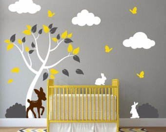 Nursery Tree Decal With Clouds, Deer, Bushes, Butterflies, and Bunnies
