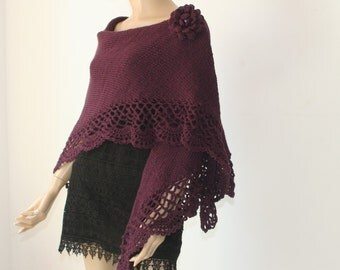 Hand Knitted Crocheted Triangle Shawl Purple