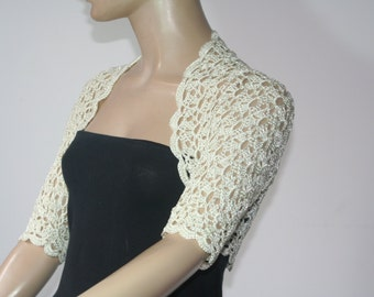 Wedding Bridal Bolero Shrug Lace Crochet Shrug Boleros ivory silk