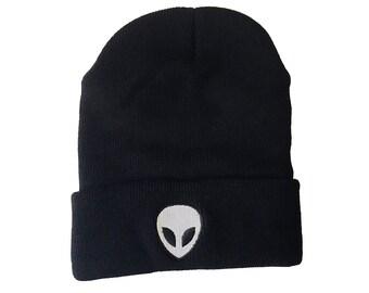 Alien Beanie - Embroidered Alien Knit Hat  - 90's Beanie - Grunge - Goth