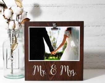Wood Block Photo Holder- Mr. & Mrs.- Country Decor- Rustic Decor- Farmhouse Decor-Wedding Gift