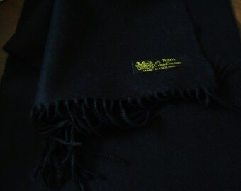 "Scottish Cashmere Scarf SOLID BLACK  Made in England 72x12"" Unisex"