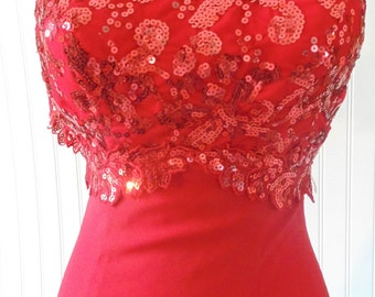 Sale! FREE SHIPPING Vintage Red Dress Sizee Extra Small Dress Gown Red Evening Dress Prom Party Dress Sequins