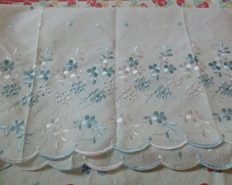 Off White and Blue Cotton Embroidered Eyelet Lace Fabric for Home Decor Table Linens Bedding Sewing Wedding Decor