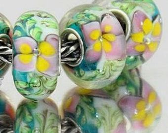 Pink Flowers Murano Lampwork Glass Bead Charm 925 Silver Fits Trollbeads Chamilia Biagi and All European Charm Bracelet Big hole bead