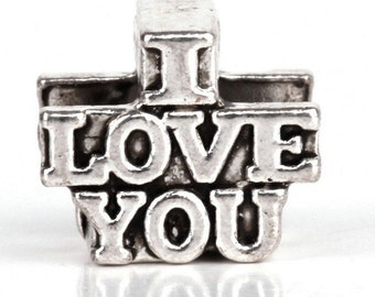 "Antiqued Silver ""I LOVE YOU"" Bead Charm Fits All European Charm Bracelet large hole Bead"