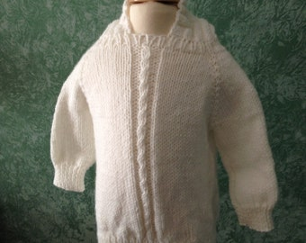 White Hand Knitted Back Zippered Sweater with Cable Front Size 6 to 9 mos- Ready to Ship!!!