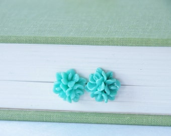 Seafoam Mint Studs Seafoam Flower Earrings Mint Flower Earrings Teal Flower Earrings Chrysanthemum Stud Earrings Bridesmaid Earrings Gift