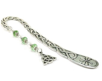 Celtic Style Bookmark Triquetra Charm Green Beaded Book Mark Celtic Knot
