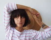 Striped shirt, Long Sleeve Tshirt, Oversized with Pink Breton stripes