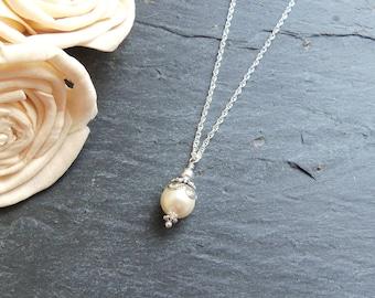 Women's cream silver pearl drop necklace, simple pearl, bridesmaid gift, Swarovski pearl necklace, cream bridesmaid jewelry, single pearl