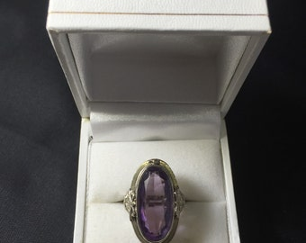 Antique 14K White Gold Amethyst Ring with filigree