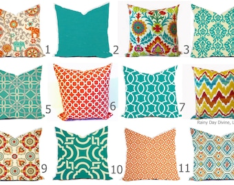 Outdoor Pillows or Indoor Cover Custom - Orange Gold Turquoise Aqua Peacock Teal Ivory - 16x16, 18x18