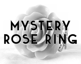 Mystery Rose Ring; Resin Cabochon Ring; Surprise Jewelry; Resin Rose Ring; Mystery Ring; Adjustable Silver Ring; Resin Ring; Rainbow Ring