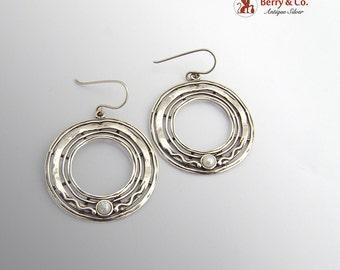 Vintage Round Earrings Cultured Pearls Sterling Silver