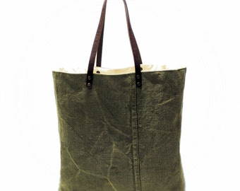 Brown shoulder bag  Canvas tote bag Vintage bag Leather straps Large tote bag