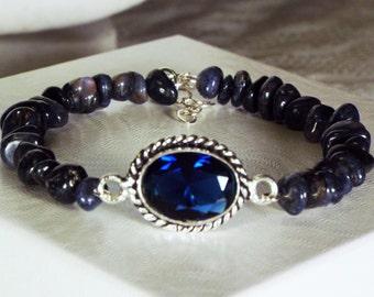 "Cynthia Lynn ""SULTRY SAPPHIRE"" Sterling Silver Blue Sapphire September Birthstone Beaded Bracelet"
