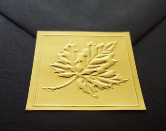 Maple Leaf In Gold Metallic Embossed Foil Square Envelope Seal Stickers, 25 Stickers Per Sheet | 8.25 Per Sheet