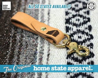 Key Fob by Home State Apparel: Laser Engraved Leather Key Fob