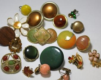Lot of Vintage Single Earrings  - Earth Tone Earring Lot