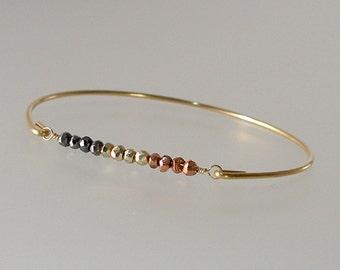 Pyrite Gold Minimalist Bangle Bracelet, Boho Chic Bangle Bracelet, Gemstone Bracelet, Bohemian Bracelet, Bohemian Jewelry (Gm274G)
