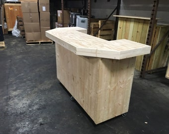 The Smooth Pallet - 6' pallet style rustic or industrial u shaped dry bar with smooth top