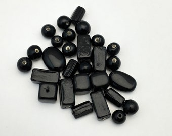 28 mixed glass beads  black color #PV113