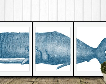 Blue Whale Digital Art, INSTANT DOWNLOAD, Beach Art Printable, Home Decor, Coastal Whale Giclee, Marine Nautical Decor Gallery Wall Set of 3
