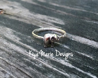 Elephant Ring, skinny band stack ring, Sterling Silver Argentium Silver Stack Rings, elephant nature rings, elephant jewelry
