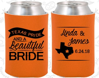 Texas Pride and a Beautiful Bride, Wedding Keepsake, Texas Wedding, Texas Gifts, Texas Pride, Wedding Can Coolers (215)