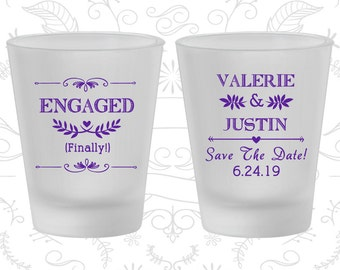 Engagement Wedding, Custom Frosted Glassware, Save the Date Wedding, Rehearsal Dinner, Frosted Shot Glasses (482)