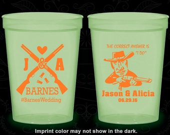 Shotgun Wedding, Customized Nite Glow Cups, Country Wedding, Redneck Wedding, Glow in the Dark (563)