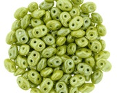 Luster-Opaque Olive SuperDuo, Czech Glass, 2 hole, 2.5x5mm 10 Grams